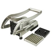 Edelstahl Französisch Fry Gurke Gemüseschneider Chipper Slicer Chopper Küche Werkzeug w/36 Löcher Klinge 64 Löcher klinge