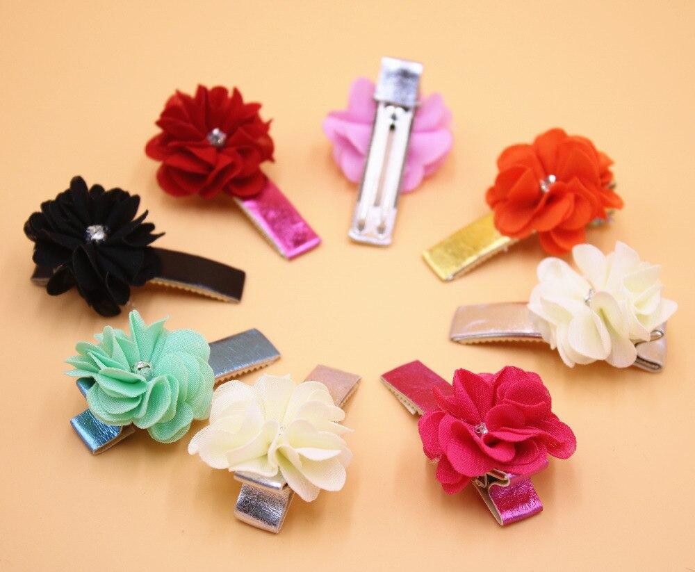2pcs Beauty Flower Hairpins Children Hair Accessories Girls Rhinestone Hair Barrettes Children Accessories Baby Hair Clip