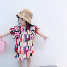 New 2019 Children Autumn Clothing Multicolor Striped Baby Girls Vacation Dress Ruffles Sleeve Toddlers Kids Cute Dresses G006