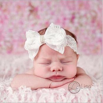 2018 New charm white lace flower top bowknot turban Headband bebe Lace Headwear Elastic Hair Band Accessories фото