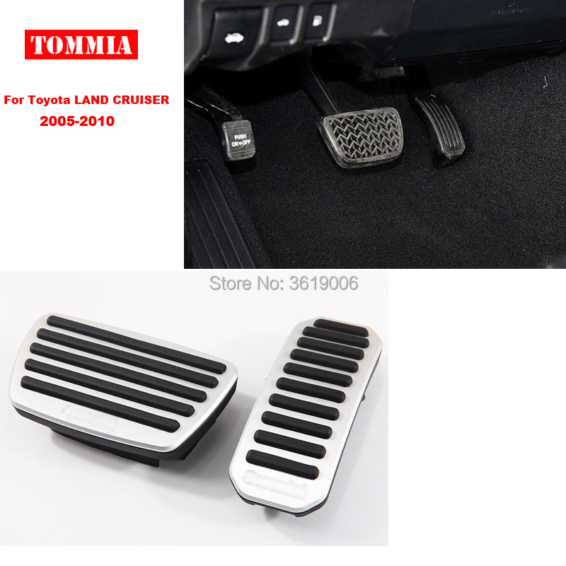 tommia Aluminum Footrest Gas Brake Pedals Pad kit For Toyota LAND CRUISER 2005-2010 no drilling cool design styling