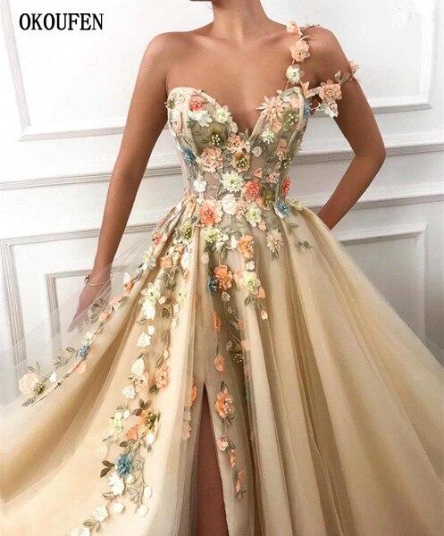 2019 longues robes de bal une épaule Tulle une ligne 3D Floral dentelle Applique Split fleurs formelle soirée robe de soirée robe de soirée - 3