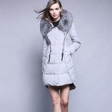 Women Fur Collar Down Coat Woman Medium-Long Thickening Slim Down Jacket 2016 Female Warm Parka Hood Overcoat Ladies Outwear