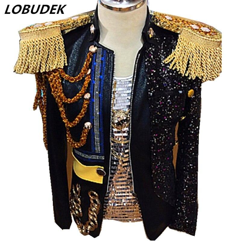 Hombres chaqueta negro borlas de alta calidad Outwear marea masculina cantante bailarín rendimiento ropa discoteca Rock Punk DS traje
