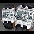 Ohsen led mens negro cara del dial analógico y digital day date alarma Caja de Metal Dial Esfera Blanca Banda de cuero de Cuarzo Relojes Deportivos OH602