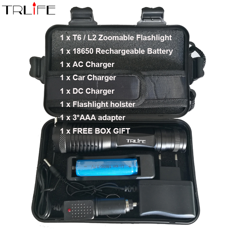 6000Lumens X900 Flashlight Zoomable LED Light CREE XM-L T6 L2 Tactical Lamp Torch Outdoor Lighting lanterna Camping w/ 18650 led flashlight torch e17 cree xm l t6 3800 lumens high power focus lamp zoomable light with one battery charger and sleeve