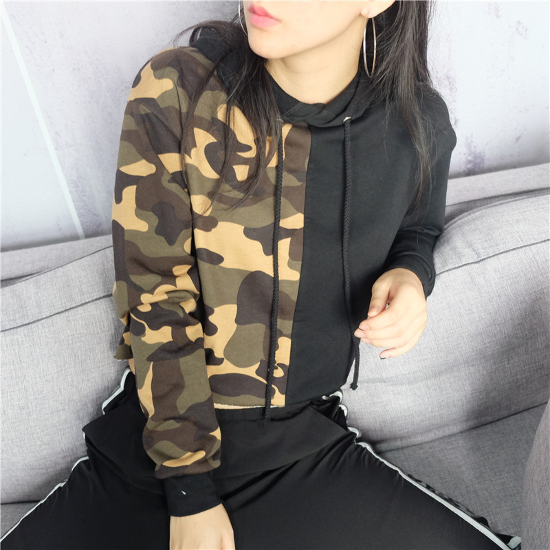 f79d6bf21f9 Detail Feedback Questions about Camo Print Crop Hoodie Drawstring Full  Sleeve Sweatshirts Ladies Hoodies for Women Camouflage Army Green Patchwork  Pullovers ...