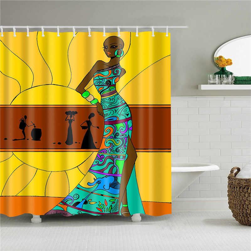 مجردة الأفريقية دش الستار يطبع النسيج البوليستر ستائر الحمام للماء ستارة حمام السنانير الديكور