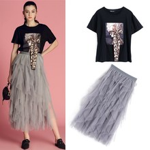 Комплект одежды, женские летние хлопковые черные футболки с большим бантом, блузка, топы+ длинные оборки, многослойные сетчатые юбки для вечеринок, костюмы, комплект NS989