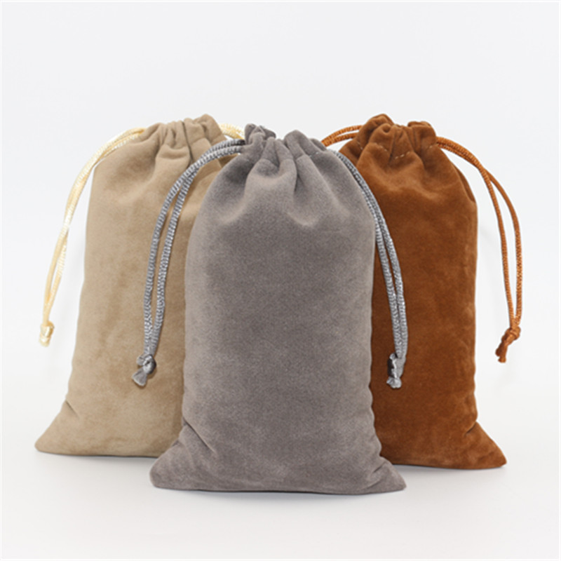 20pcs/lot 10*16cm Double Side Velvet Storage Packing Bag Custom Logo Print  Pouch Wholesale Drawstring Bags For Wedding Gifts