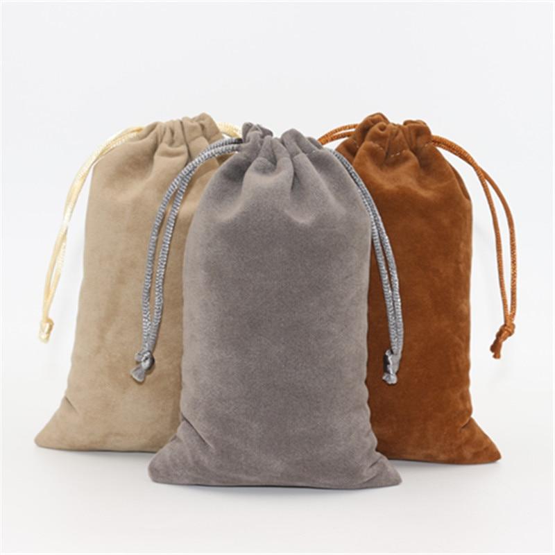 20pcs/lot 10*16cm Double Side Velvet Storage Packing Bag Custom Logo Print  Pouch Wholesale Drawstring Bags For Wedding Gifts