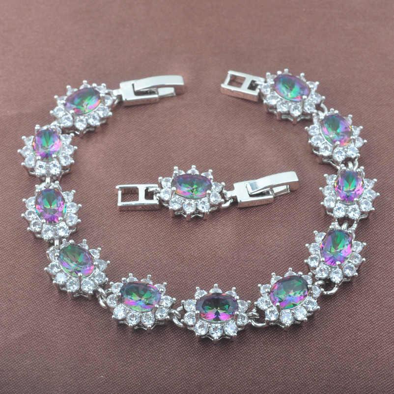 Nueva pulsera Multicolor de cadena de eslabones de Plata de Ley 925 de circonita arcoíris OS0244