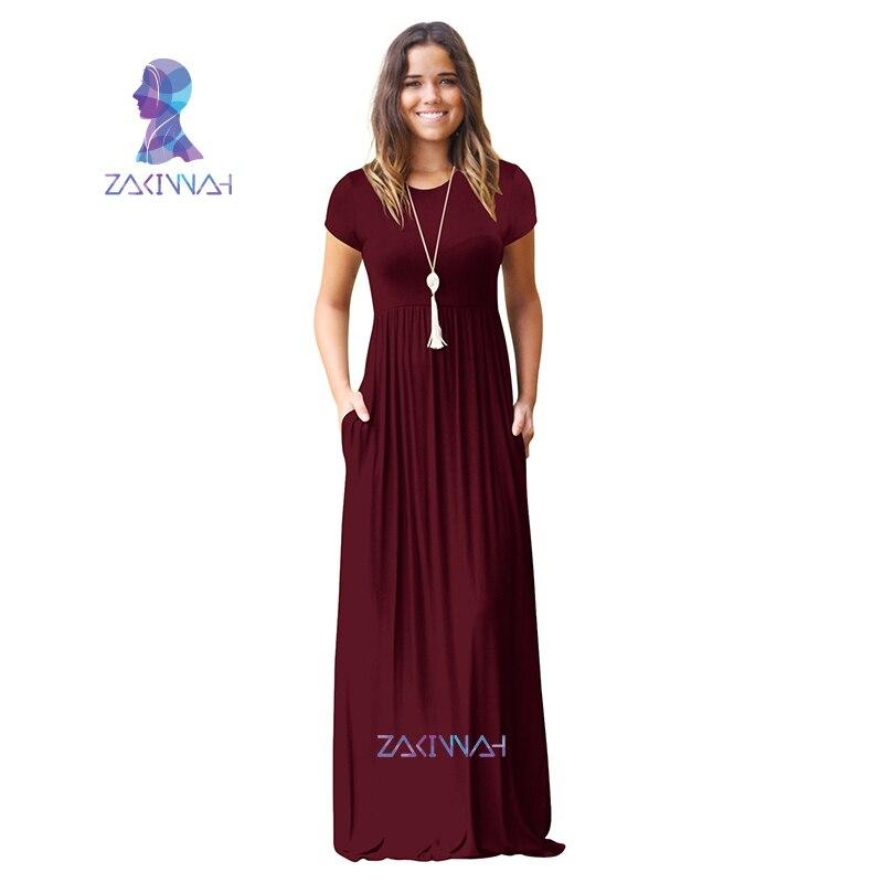 Summer Maxi Long Dress Women Plus Size Floor Length Robe Casual Pockets New  Short Sleeve O-neck Solid Dress