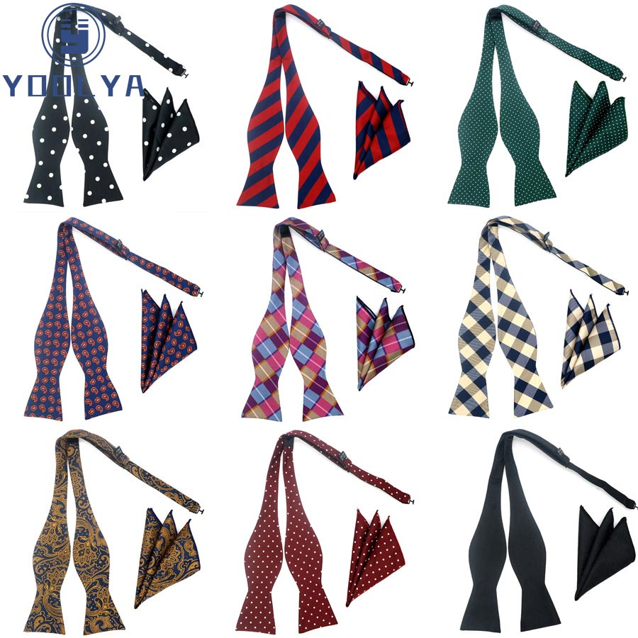 Fashion Design Self Bow Tie Hanky Set Plaid Paisley Polka Dot Silk Jacquard Woven Men Bowtie Pocket Square Suit Wedding Party