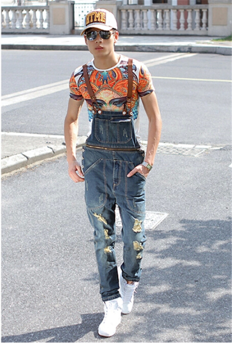 ФОТО 2015 Spring Summer Fashion Casual Men's Ripped Hole Denim Bib Pants , Man Cool Stylish Jeans Jumpsuits And Overalls Men Rompers