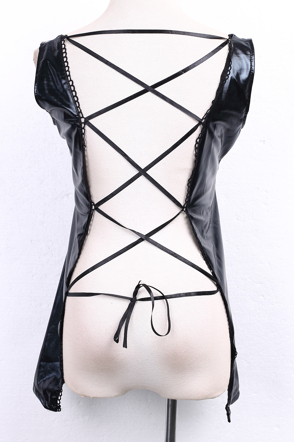 Сексуальное платье из искусственной кожи ПВХ Клубное Бандажное платье мини-платья женская черная Клубная одежда на шнуровке Клубная одежда с эффектом мокрой кожи оптовая продажа