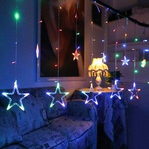 Image 4 - נופש תאורת 4 M 138LED חג המולד אורות חיצוני פתית שלג פיות וילון LED מחרוזת אור לבית מסיבת השנה החדשה קישוט