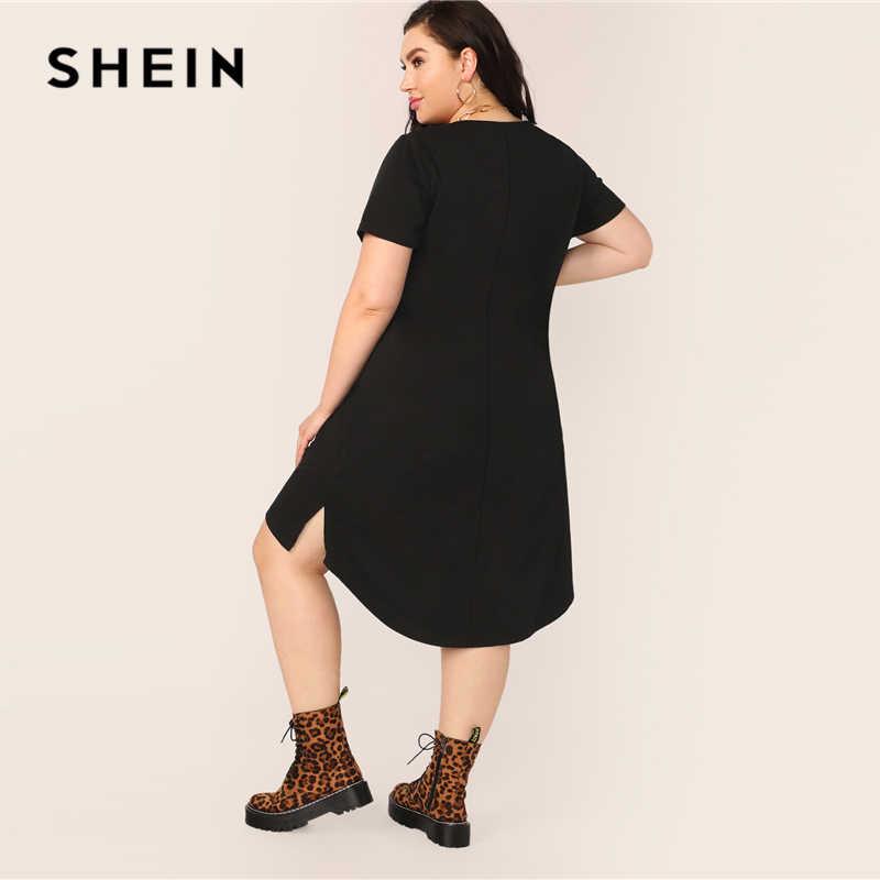 SHEIN Artı Boyutu Siyah Bölünmüş Yüksek Düşük Hem katı tunik elbise 2019 Kadın Yaz Rahat Bölünmüş Vites Temelleri Düz Artı Elbiseler