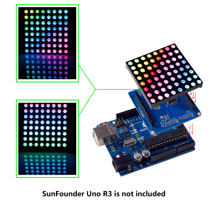 US $17 19 14% OFF|SunFounder 8x8 Full Color RGB LED Matrix Driver Shield +  RGB Matrix Screen For Arduino-in LED Displays from Electronic Components &