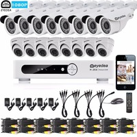 Eyedea 16CH Phone View DVR 1080P Bullet Dome Outdoor Indoor CMOS LED Night Vision CCTV Security