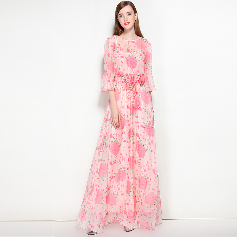 High quality 2017 new designer runway pink flowers printing Cute long dress O-Neck Flare Sleeve Sashes elegant Maxi dress