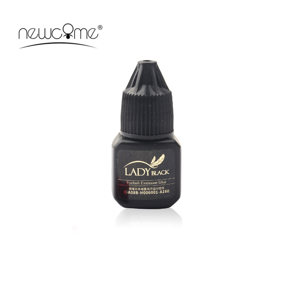 Lady Black Glue 3D Eyelash Extension 5ml/Bottle With Low Irritation 3-4S Fast Drying Time Fume Adhesive With Sealed Bag