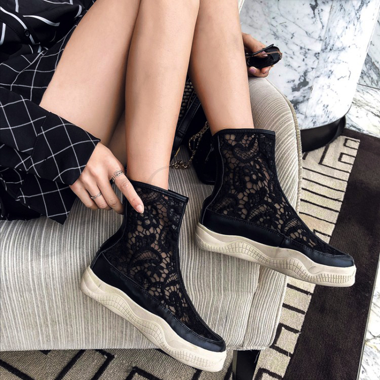 LAIGZEM SEXY Women Ankle Boots Mesh Breathable SUMMER Boots Flat Thick Bottom Botas Feminina Bottes Femme Small Big Size 32-46