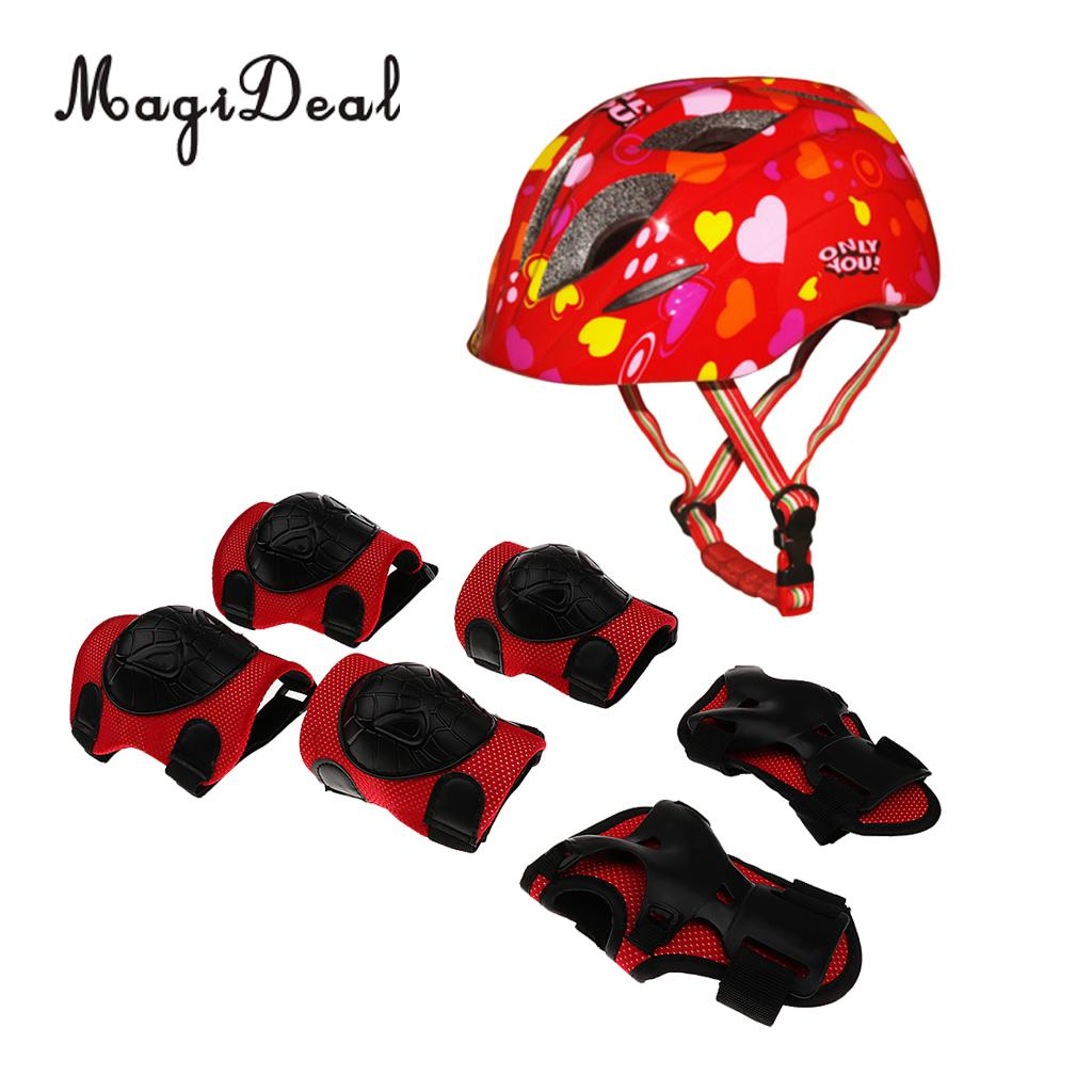 MagiDeal 7 Pieces Kids Sport Helmet Knee Elbow Pad Wrist Guard Protective Gears for Roller Skating Scooter Skateboard Bike Red