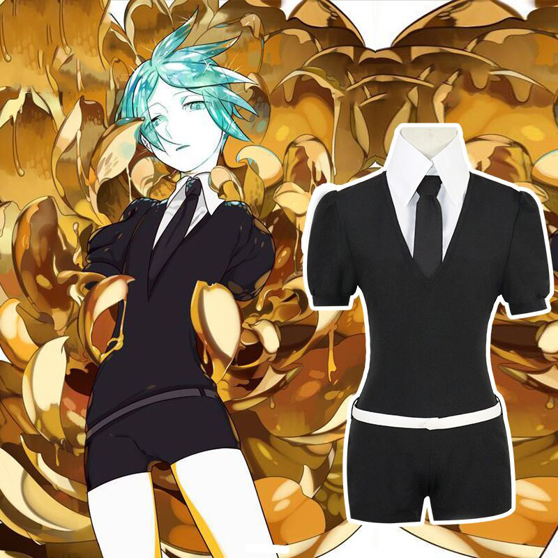 Anime Houseki no Kuni Phosphophyllite Cinnabar Diamond Cosplay Costume+Gloves Socks full set
