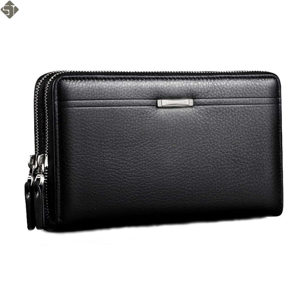 Fashion Brand Business Genuine Leather Mens Clutch Bag High Capacity Double Zipper Long Clutch Wallets Card Holder Coin Purse