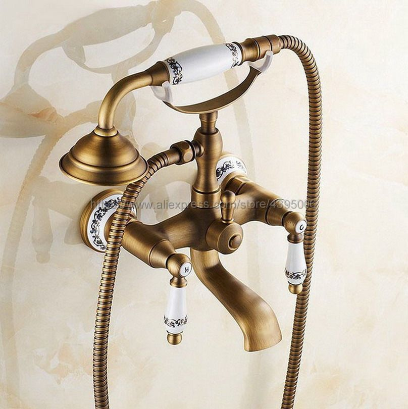 Antique Brass Bathroom Dual Handle Bathtub Sink Faucet Wall Mounted Telephone Style Tub Mixer Taps with