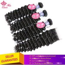Hair-Products Closure Human-Hair-Bundles Virgin-Hair Curly-Wave Queen Deep Malaysian