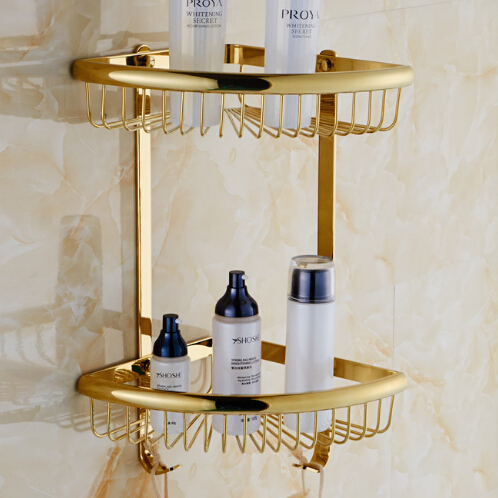 Free Shipping golden Brass Bathroom Shelves 2-Tier Bathroom Storage Basket Wall Mounted Bathroom Shampoo Shelf цена