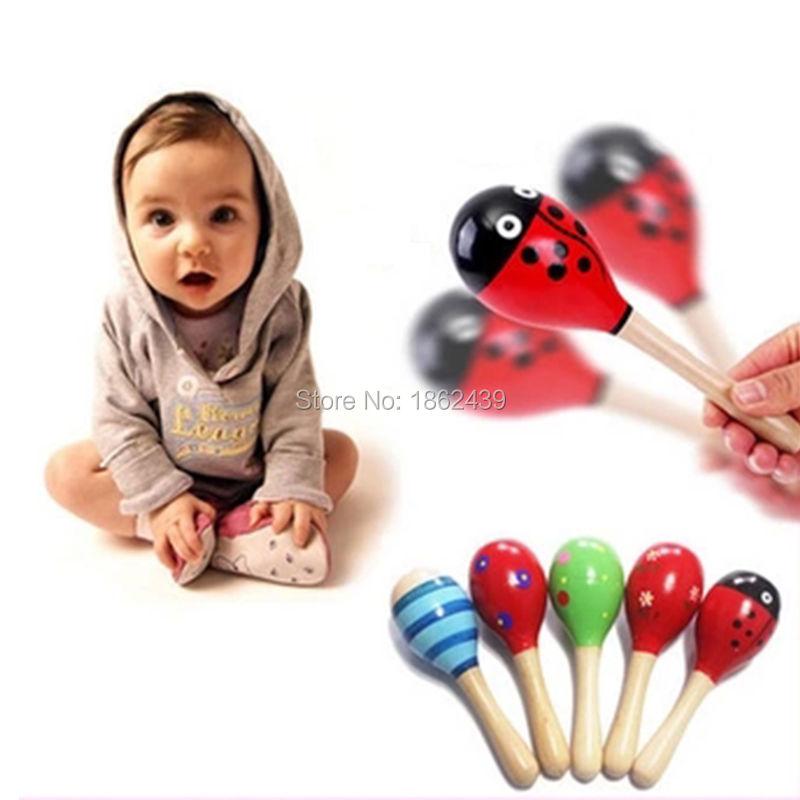 Novo Bebê Bonito Crianças Som Música Presente Criança Chocalho Musical De Madeira Brinquedos Coloridos