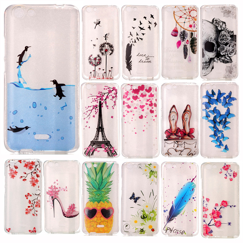 Wiko Rainbow Jam 4G Transparent Case Animal Flower Silicone TPU Gel Back Cover Case for  ...