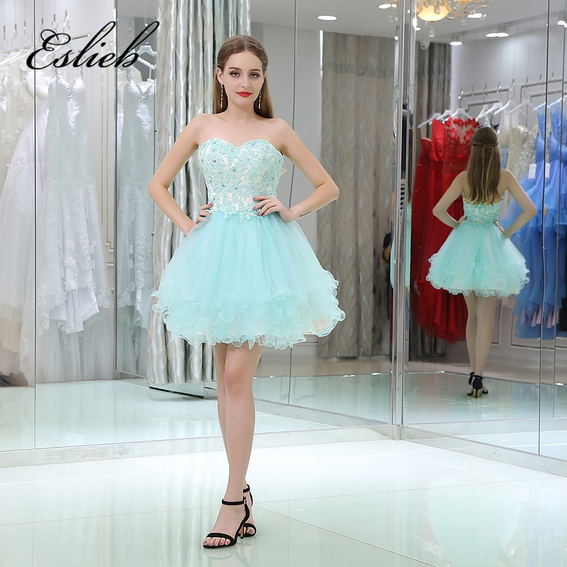Elegant Lace Crystal Short   Cocktail     Dresses   2017 Sewing Beading Knee Length Sleeveless Prom   Dress   Party Gowns