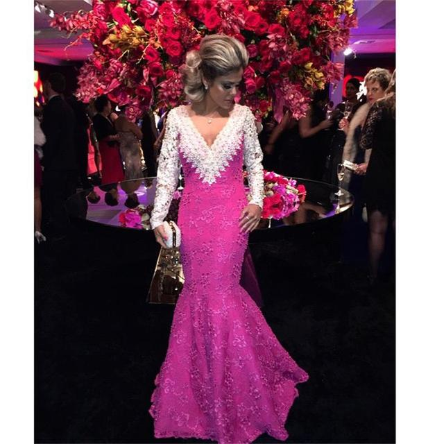 f22735a9854b7 Attractive Hot Pink Evening Dresses Beaded Appliques Long Sleeve Mermaid Evening  Gowns Backless Prom Dresses 2016