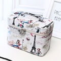 Korean style Fashion Multi-functional Scenery Travel Cosmetic Case Bag PU Makeup Case Travel Jewelry Case Birthday Gift for Girl