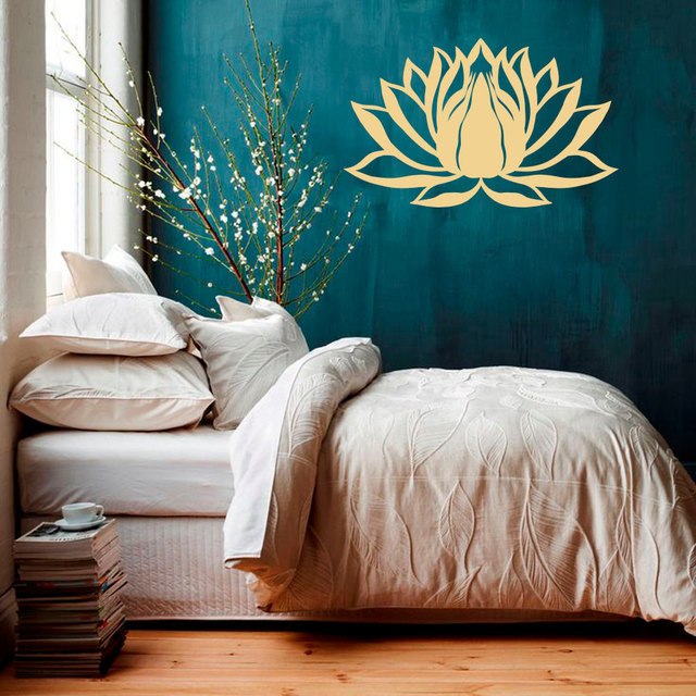 Wall Decal Lotus Flower Namaste Symbol Vinyl Sticker Murals Yoga Zen  Bohemian Meditation Buddha Art Room Part 42