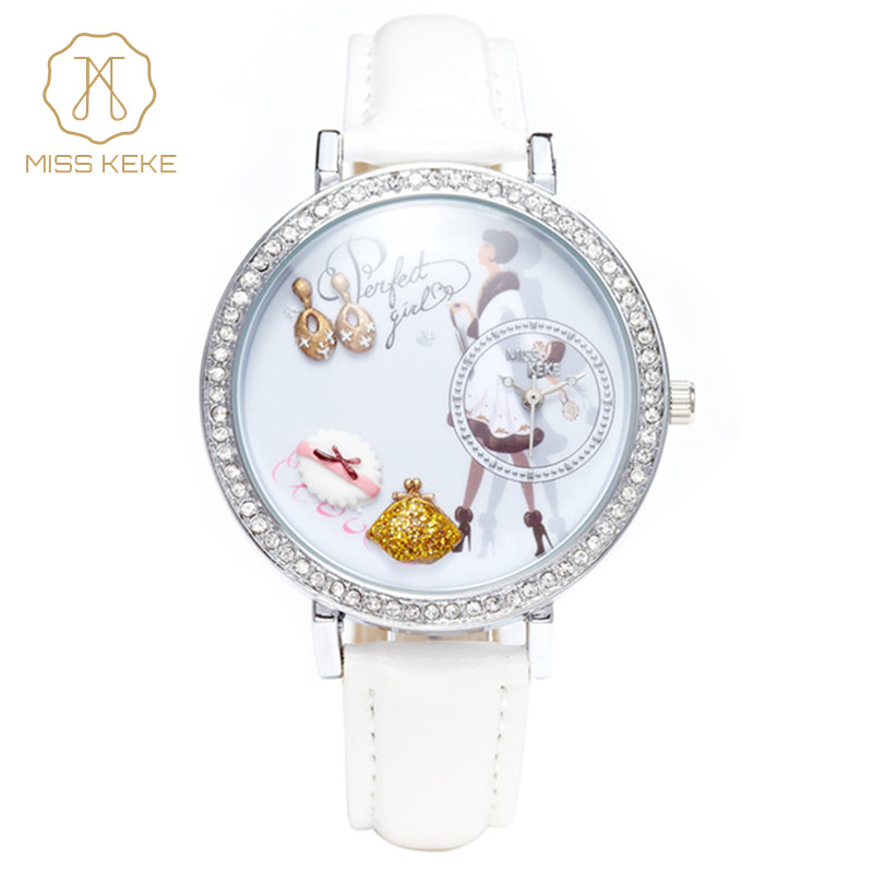 MISS KEKE Women Watch 3D Clay Dress Women's Wristwatches Mini Cute PU Strap Ladies Watch Female White Women Clock fujitsu sc cle lv высокообъемный набор для чистки сканера