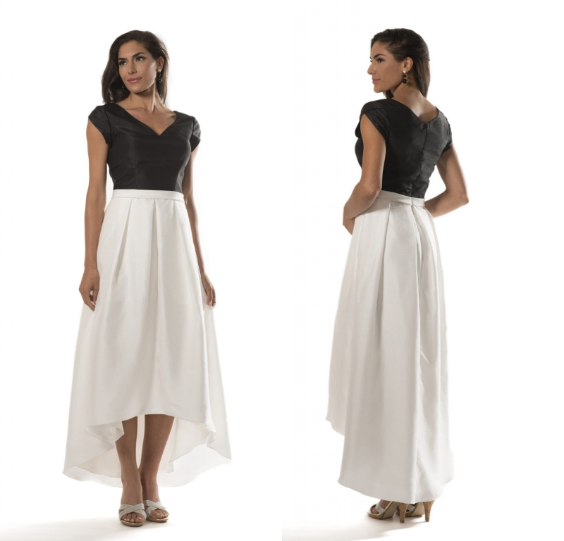 Vintage High Low Modest   Bridesmaid     Dresses   2019 With Sleeves Taffeta Black And White Country Simple Wedding Guests   Dresses   Cheap