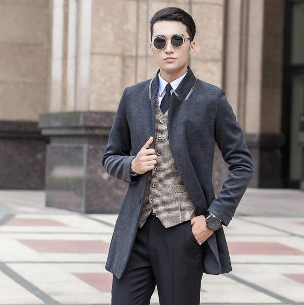 7e254a8be7d734 Black grey winter Korean youth wool coat mens trench coats slim casual coat  overcoat for mens fashion pea coats big size S - 9XL