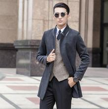 Black grey winter Korean youth wool coat mens trench coats slim casual overcoat for fashion pea big size S - 9XL