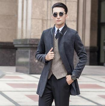 Black grey winter Korean youth wool coat mens trench coats slim casual coat overcoat for mens fashion pea coats big size S – 9XL