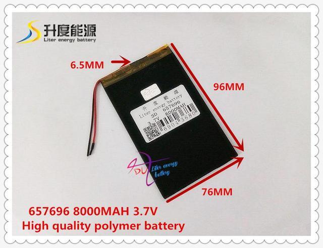 3.7 V 8000 mAH 657696 bateria de polímero de iões de lítio/bateria Li-ion para tablet pc, POWER BANK, carregador de telefone celular falante, falante, E-BOOK, GPS