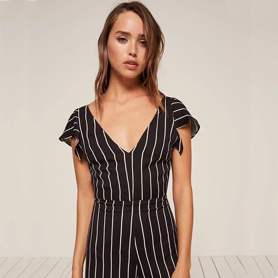 1aa279138a1 Halter Backless Stripes Jumpsuit womanSexy Elegant v Neck Body Wide Leg  Jumpsuits Formal Evening Praia Striped Romper 50L010-in Jumpsuits from  Women s ...