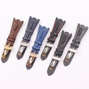 Image 1 - İzle aksesuarları için geçerlidir AP kraliyet meşe serisi deri saat kayışı katlanır toka 28mm erkek saati saat kayışı