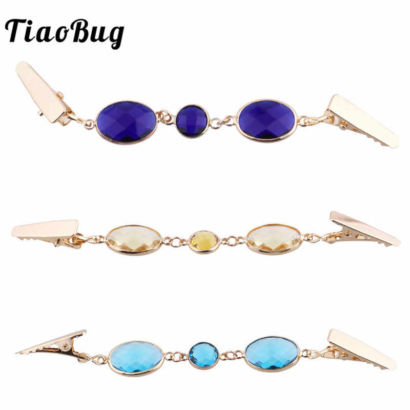 TiaoBug Women Fashion Korean Crystal Rhinestone Sweater Shawl Clips Cardigan Collar Alligator Clip Holder Pin Brooch Clip Gift