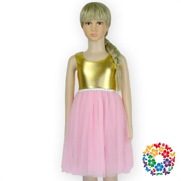 DHL Free 12Pcs/Lot Boutique Gold Top Pink Tutu Chiffon Wedding Dress ...