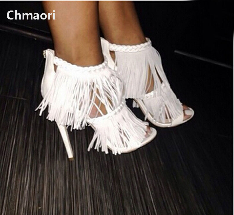 2015 hot selling white black suede fringed high heel sandals open toe ankle strap woman sandals цена